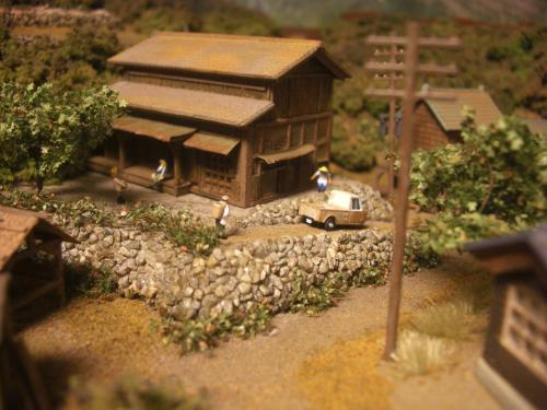 Nゲージレイアウト 古民家と石垣 1
