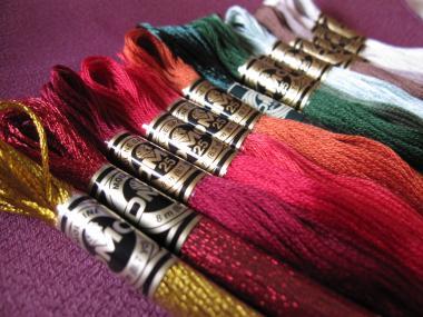 鶴紋刺繍糸