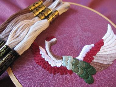 鶴紋 一翼刺繍糸