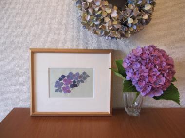 紫陽花の刺繍を飾った様子!