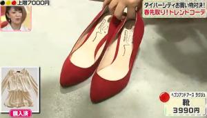 磯山さやか、ヘブンアンドアース ラグジュの赤の靴