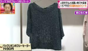 バックリボンボクシーセーター