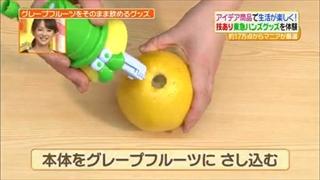 本体をグレープフルーツに差し込む