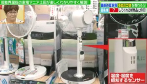 温度、湿度を感知する扇風機のセンサー