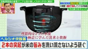 二本の突起が米の旨味まで洗い流さないように研ぐ