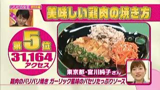 「鶏肉のパリパリ焼き ガーリック風味のパセリたっぷりソース」(東京都、宮川純子)