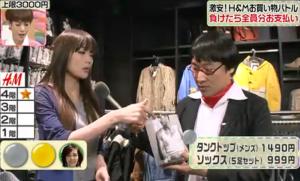 メンズタンクトップで胸元を見せる、佐藤江梨子