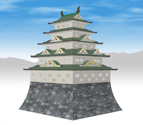 二条城天守閣(銅屋根)斜めか