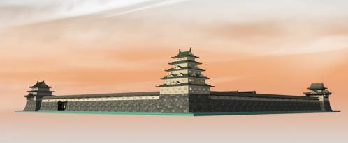 南西角かた見た黄昏の二条城本丸