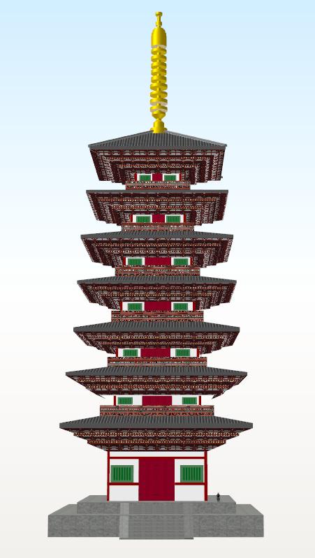 相国寺七重塔正面(瓦変更)