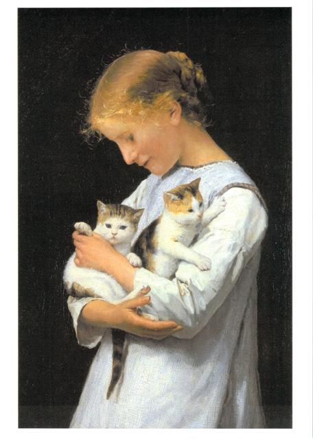 少女と二匹の猫