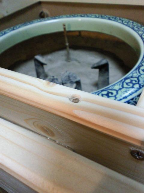 火鉢テーブル穴