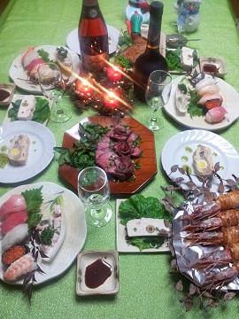 クリスマスイブのテーブル