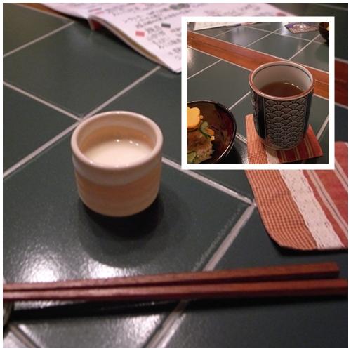 スープ、黒豆茶