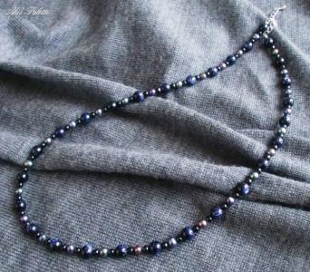 ブルーゴールドストーンのネックレス(天然石アクセサリー)