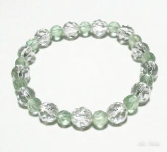 水晶とグリーンフローライトのブレスレット(天然石アクセサリー)