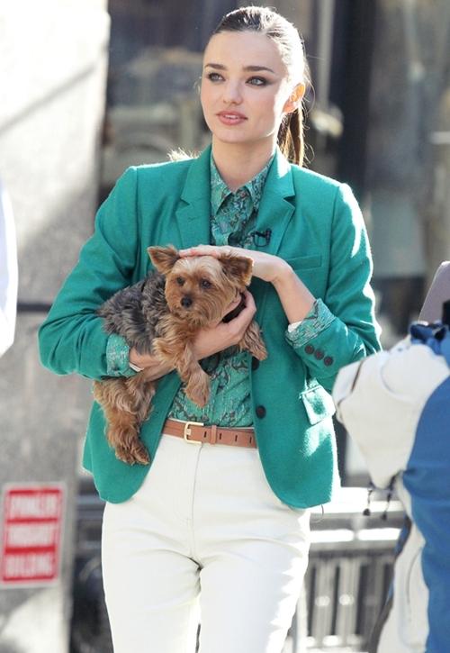 美しすぎです!ミランダ・カー NYで愛犬と一緒に撮影!