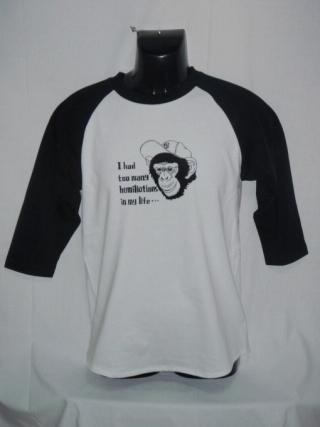 チンパンジーでラグラン7分ホワイト×ブラックにブラックプリント