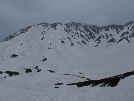 20110529立山雷鳥荘から滑った斜面と剣御前