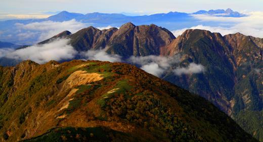 鋸岳と八ヶ岳の夕景