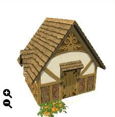 ハウジング_板屋根の煉瓦の家+丸型の板屋根+アーチ型装飾_01