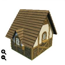 ハウジング_板屋根の煉瓦の家+横に長い板屋根+三角装飾_02