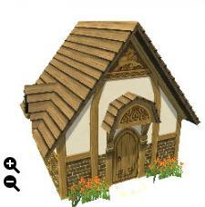 ハウジング_板屋根の煉瓦の家+横に長い板屋根+三角装飾_01