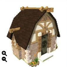 ハウジング_瓦屋根の石の家+蜂の巣模様+整えられた石壁_01