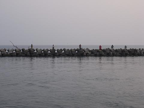 古平川河口 鮭釣り