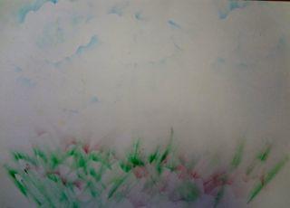 クレパステンシル・花咲く草原