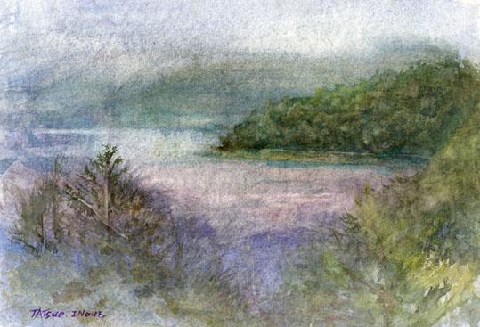 本栖湖の絵for blog