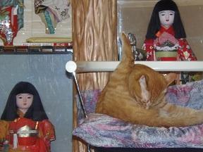 人形の前で