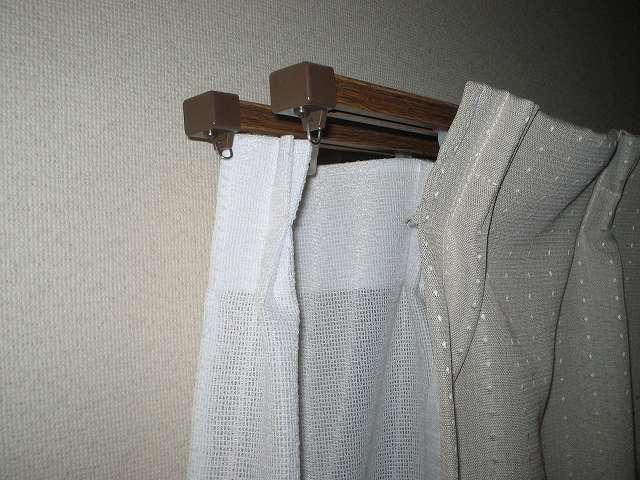 伸縮自由フリーサイズ カーテンレール 1.1 ~ 2 m ダブルと光触媒(SEK)加工レースカーテンと遮光カーテン