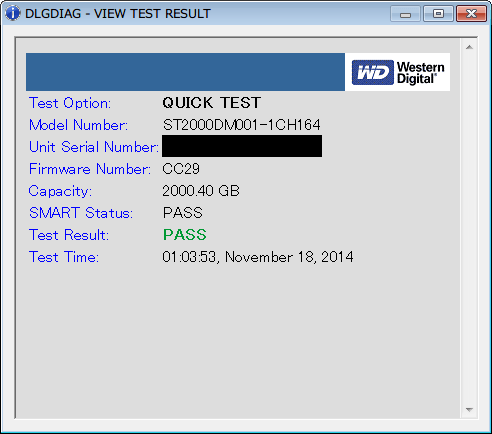 Seagate HDD ST2000DM001(Certified Repaired HDD) Data Lifeguard Diagnostic QUICK TEST PASS - VIEW TEST RESULT