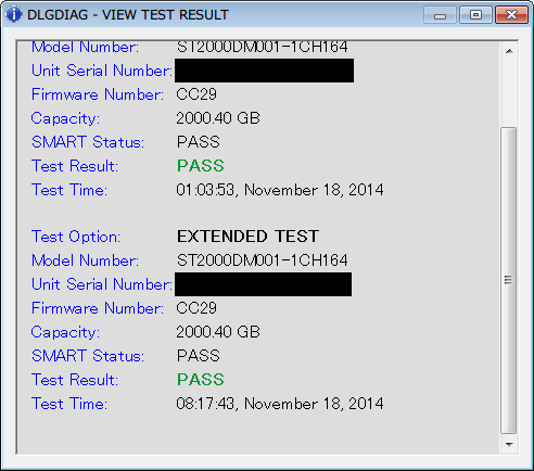 Seagate HDD ST2000DM001(Certified Repaired HDD) Data Lifeguard Diagnostic EXTENDED TEST PASS - VIEW TEST RESULT 1 回目