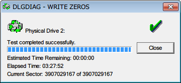Seagate HDD ST2000DM001(Certified Repaired HDD) Data Lifeguard Diagnostic WRITE ZEROS - FULL ERASE COMPLETE