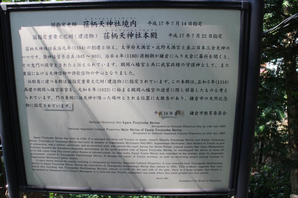 文化財の説明表示板