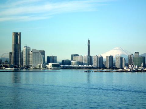 大黒大橋から眺めた横浜港と富士山(3)