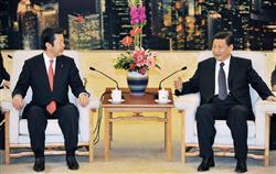 中国習近平国家副主席と会談する公明党山口代表