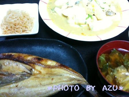 ホッケの焼き魚・白菜のお味噌汁・はんぺんとあさりの卵とじ・白滝の辛和え