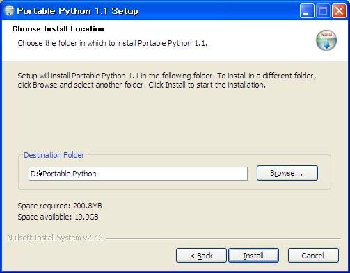 Portable Pythonインストーラー画面