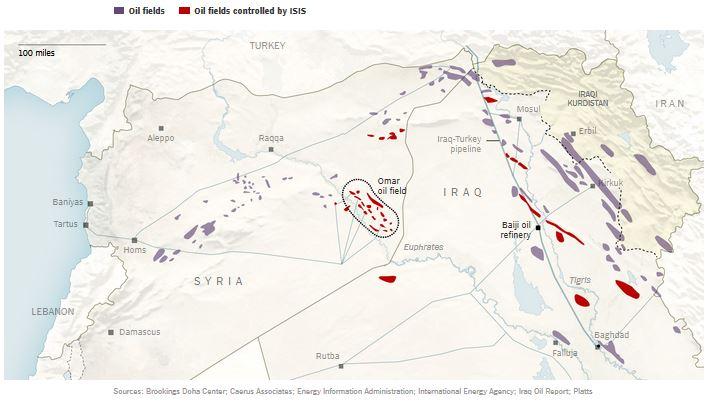 イラク・シリアの油田とパイプラインNYT_Sep 16