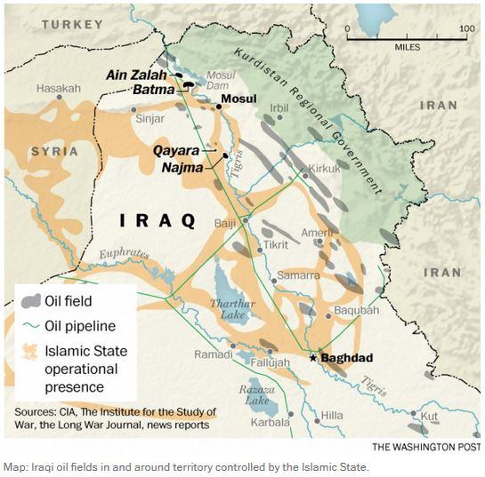 イラクのイスラーム国の油田と製油施設_Sep 15 2014_WP