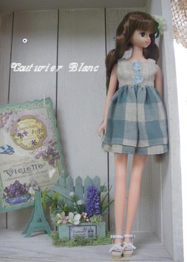 アンティークブルーチェックドレスのあやの・3