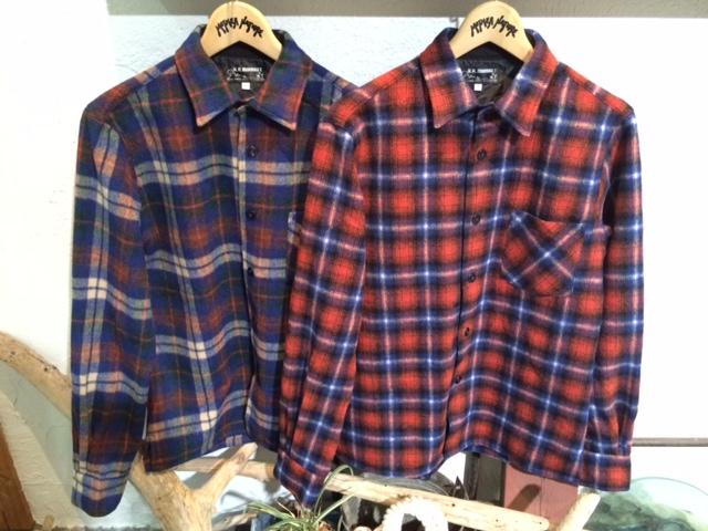 HRM シャギーウールチェックシャツ2