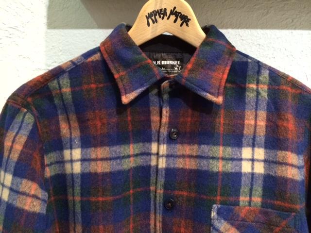 HRM シャギーウールチェックシャツ3