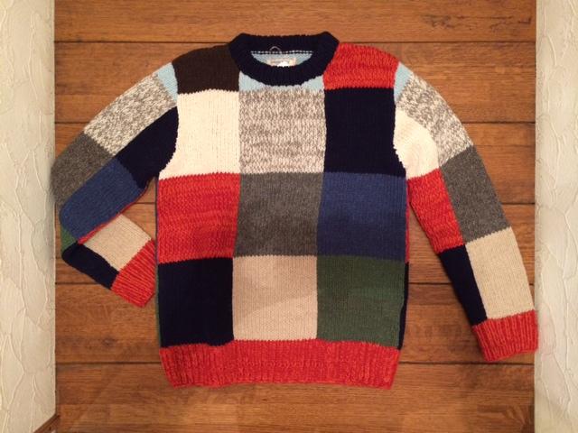 GJ パッチワークウールCセーター1