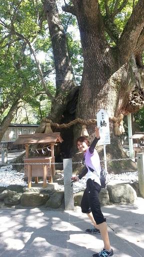 神社の木の下で