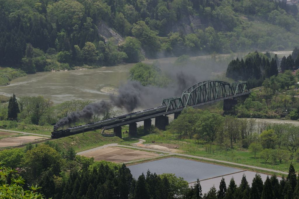磐越西線 D51498 深戸橋梁俯瞰
