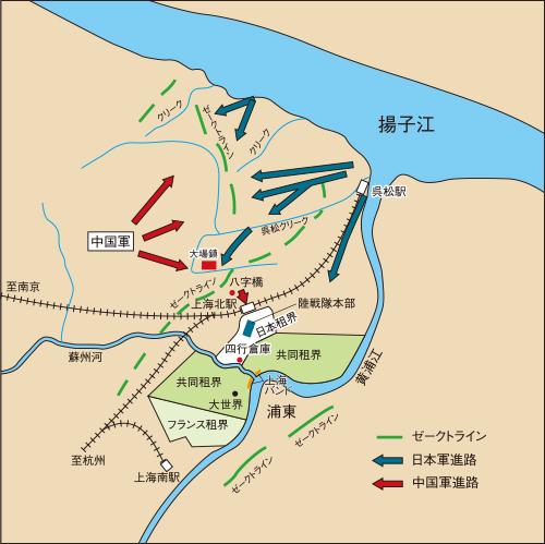 第2次上海事変の日本軍進路(想像図)
